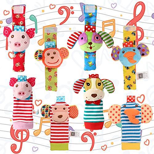 Acekid Fußrassel für Baby, 8pcs süße Tier Handgelenk Rasseln und Fuß Finder Set, Entwicklungs Stofftiere Puppen für Kleinkinder