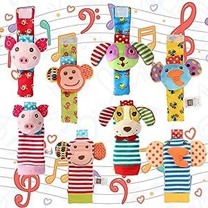 ThinkMax 8 Piezas de sonajeros para bebés, Lindos sonajeros de muñecas de Animales y Juego de Busca pies, muñecas de Desarrollo para muñecos de Peluche