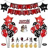 Siphus Globos Ladybug Cumpleaños, Decoración Cumpleaños Mariquita, Ladybug Decorar Tartas, Happy Birthday Pancarta, Rojo Negro Set Cumpleaños Ladybug, Decoracion en Globos por Niño Niña