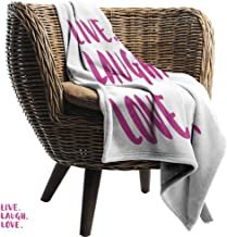 Mannwarehouse Live Laugh Love Home Throw Blanket Positive Live Laugh Love Quote with Brush Stroke Effect Hand Lettering All Season for Couch or Bed Purple White