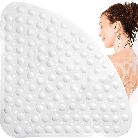 KaiKai Duschmatte rutschfest Viertelkreis Anti Rutsch Matte Badewannenmatten Dreieck-Massage mit Ablaufloch f/ür Viertelkreis-Dusche oder Badewanne 70x70cmBlue