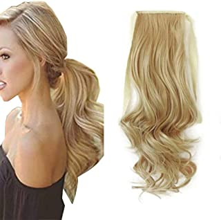 iLUU Highlighted Tie Up Ponytail Synthetic Hair Extensions with Ribbon Binding Comb Clip in Wavy Curly Pony Tail 90g Thick...