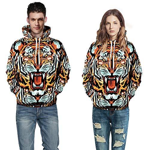 Blwz Paar 3D grappige tijgerprint hoodies unisex mannen vrouwen pullover outdoor vrije tijd sweatshirts uniform lange mouwen jumper mantel met zakken jeugd S-3XL