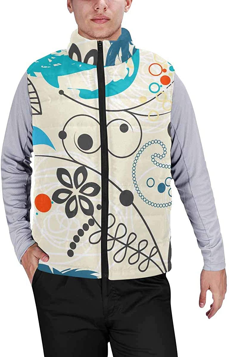 InterestPrint Men's Soft Stand Collar Jacket for Fishing Hiking Cycling Floral Harmony