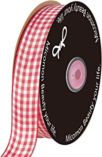 Micomon Red Gingham Woven Edge Ribbon 25 Yards Per Spool,Checked Crafts 3/4 Inch Wide (3/4