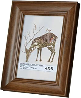 Juwide 4x6 Picture Frames,Brown Photo Frame Made of Solid Wood High Definition Glass for Table Top and Wall mounting