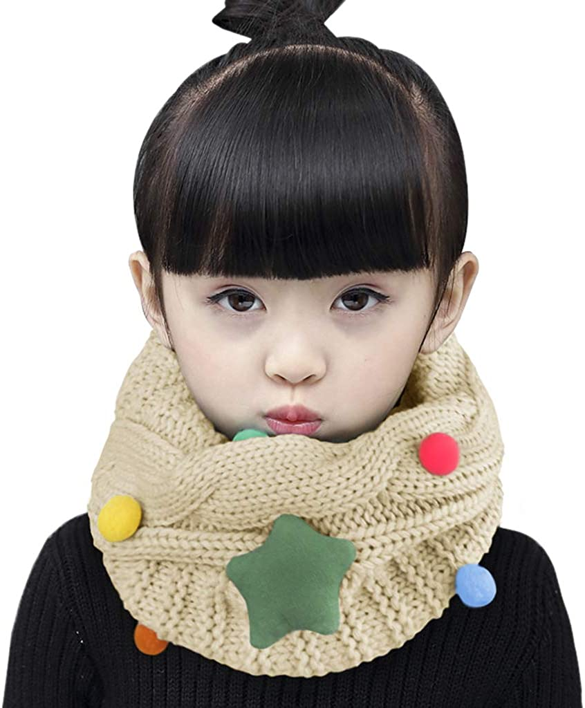 Kids Knit Neck Gaiter Child Infinity Scarf Winter Snood Cold Weather Warm Circle Loop Scarf Wrap Kids Fashion Scarf Thick Chunky Neckerchief Soft Neck Warmer for Boys Girls Toddler 2-14 Y