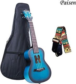 Paisen Lindo ukelele de concierto azul de 23 pulgadas para principiantes y niños con bolsa de