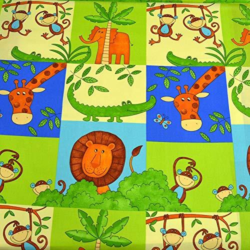 MAGAM-Stoffe Tier Paradies Baumwollstoff Kinderstoff 100% Baumwolle Oeko-Tex Meterware (Bunt)