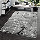 Teppich Steinboden Marmor Optik Design Modern Wohnzimmerteppich Grau Top Preis, Größe:120x170 cm