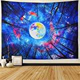 Forest Trees Tapestry Trippy Moon Tapestry Galaxy Sky Tapestry Colorful Starry Night Tapestry Wall Hanging for Living Room W78 × H59