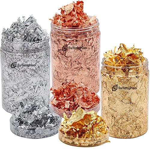 EuTengHao Fiocchi di lamina d'oro per resina, foglia di metallo dorato artigianale Foglia metallica per fusione di resina artistica (oro, argento, oro rosa 24 g)