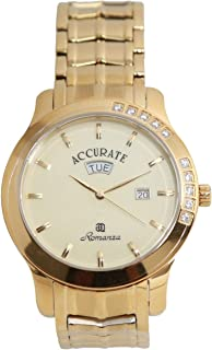 Casual Watch for Men by Accurate, Gold, Inlay, AMQ1852