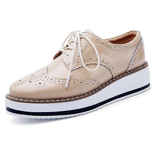 e7f5571b74d3 DADAWEN Women s Platform Lace-Up Wingtips Square Toe Oxfords Shoe