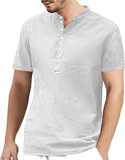 24beb4323606c Aswinfon Homme Chemise Col Mao Manches Courtes Henley Button Up en Coton Lin  Tops Blouse Shirt