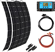 XINPUGUANG 2pcs 100w Monocrystalline Solar Panel Flexible 200W 12V Solar System kit Photovoltaic Module Cell 20A Controller MC4 Connector for Home,RV,Caravan,Boat and Other Battery Charger200W