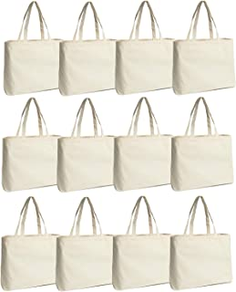 Jillmo Bulk Canvas Shopping Bags, 12oz Reusable Cotton Grocery Bags for Shopping and Crafting, 12 Pack