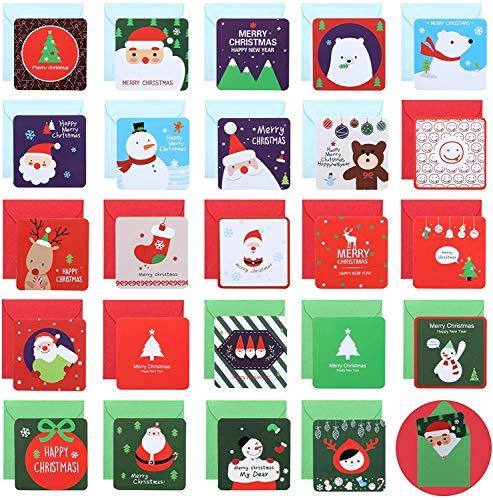 Naler 24 Mini Tarjetas de Felicitación Navideñas Tarjetas de Feliz Navidad en 24 Diseños con 24 Sobres para Regalos Bendiciones(7x7cm)