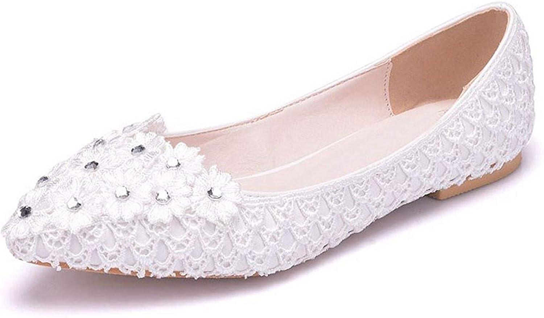 ZHRUI Damen Spitzschuh Spitze Blaumen Slip-on Slip-on Slip-on Hochzeitskleid Party Wohnungen (Farbe   Weiß-Flat, Größe   2.5 UK)  e93696