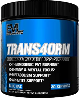 Evlution Nutrition Trans4orm Thermogenic Energizing Fat Burner Supplement, Increase Weight Loss, Energy and Intense Focus,...
