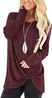 Women's Comfy Cold Shoulder Twist Knot Tunics Tops Blouses Tshirts