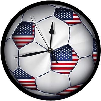 auguce Reloj de Pared Redondo Balón de fútbol Americano Decorativo ...
