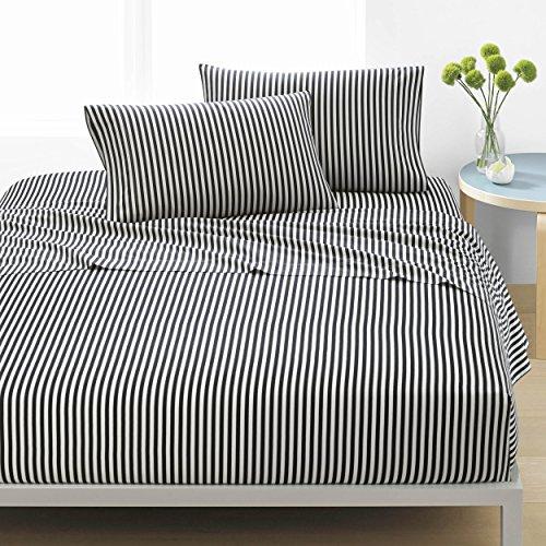Marimekko Percale Collection Sheet Set-100% Cotton, Crisp & Cool, Lightweight & Moisture-Wicking Bedding, King, AJO Black