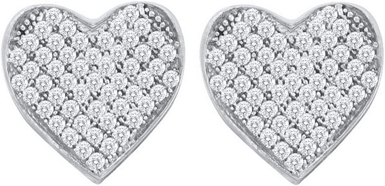 1 6 Total Carat Weight ROUND DIAMOND LADIES MICRO PAVE HEART EARRINGS