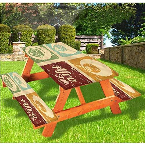 Lewis Franklin Lot de 3 housses de table de pique-nique avec bordure élastique Motif Pop Art Disco 28 x 72 cm