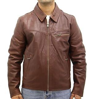 Mens Cowhide Leather Classic Retro Zip Bomber Harrington Fitted Blouson Jacket