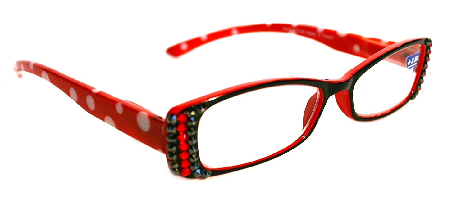 Polkamania Rectangular Bling Women Sales results No. 1 Genuine with Reading Adorned Glasses