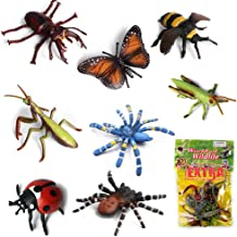 Lynkaye 20 pcs Plastic Insects Bugs Lifelike Assorted Figures Realistic Insect Animal Toys for Kids Children Butterfly, Ladybug, Mantis, Bee, Grasshopper, Stag Beetle, Red Spider, Blue Spider