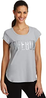 Reebok Women's Legend Running & Gym T-Shirt - Performance Short Sleeve Workout Clothes for Women - Silver Sconce, Small