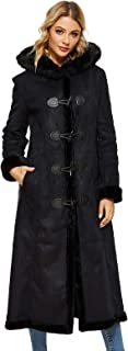 Women's Faux Suede Shearling Maxi Walking Coat with Hooded