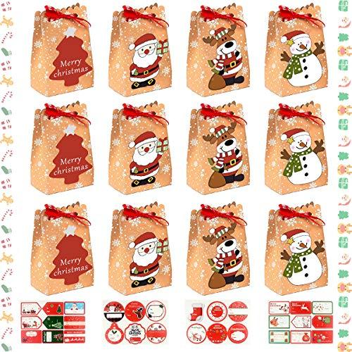 12 Pack Cajas de Regalo Navidad, Bolsa Papel Artesanal Reutilizable DIY con Pegatinas Navidad, Para Regalos, Dulces, Paquete Galletas, Tema Navidad, Bolsas Envoltura Regalos, Fiesta, Favores Navidad