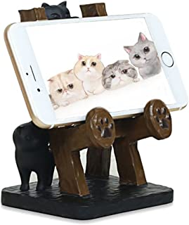 ElecNova Desktop Cell Phone Holder-Resin 2 Black Cats Smartphone Stand Mount Dock for All Smartphone, ipad, Tablet Home Decor Ideal Gift