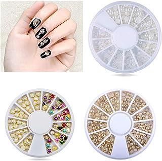 3 Wheels Nail Art Decoration 3D Gold Edge Half Round Pearls Nail Polish Tips Flat Beads Studs DIY Decoration Kit