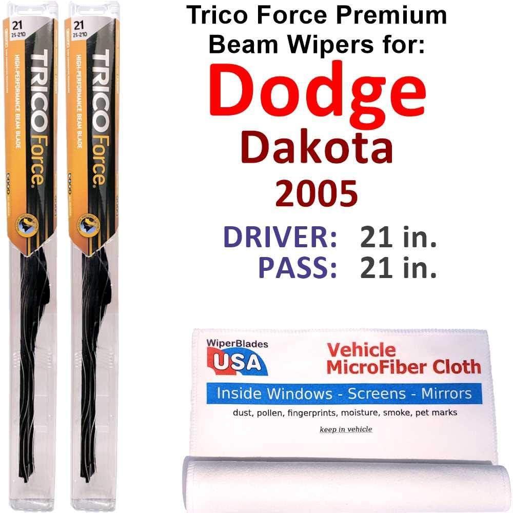 Premium Beam Wiper Blades for 2005 Dodge ご注文で当日配送 デポー Trico Force Dakota Set