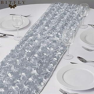 Rosette Satin Chemins de Table 30x275CM 3D de soirée de Mariage Rose Grandiose Décorations Linge de Maison Table pour la d...