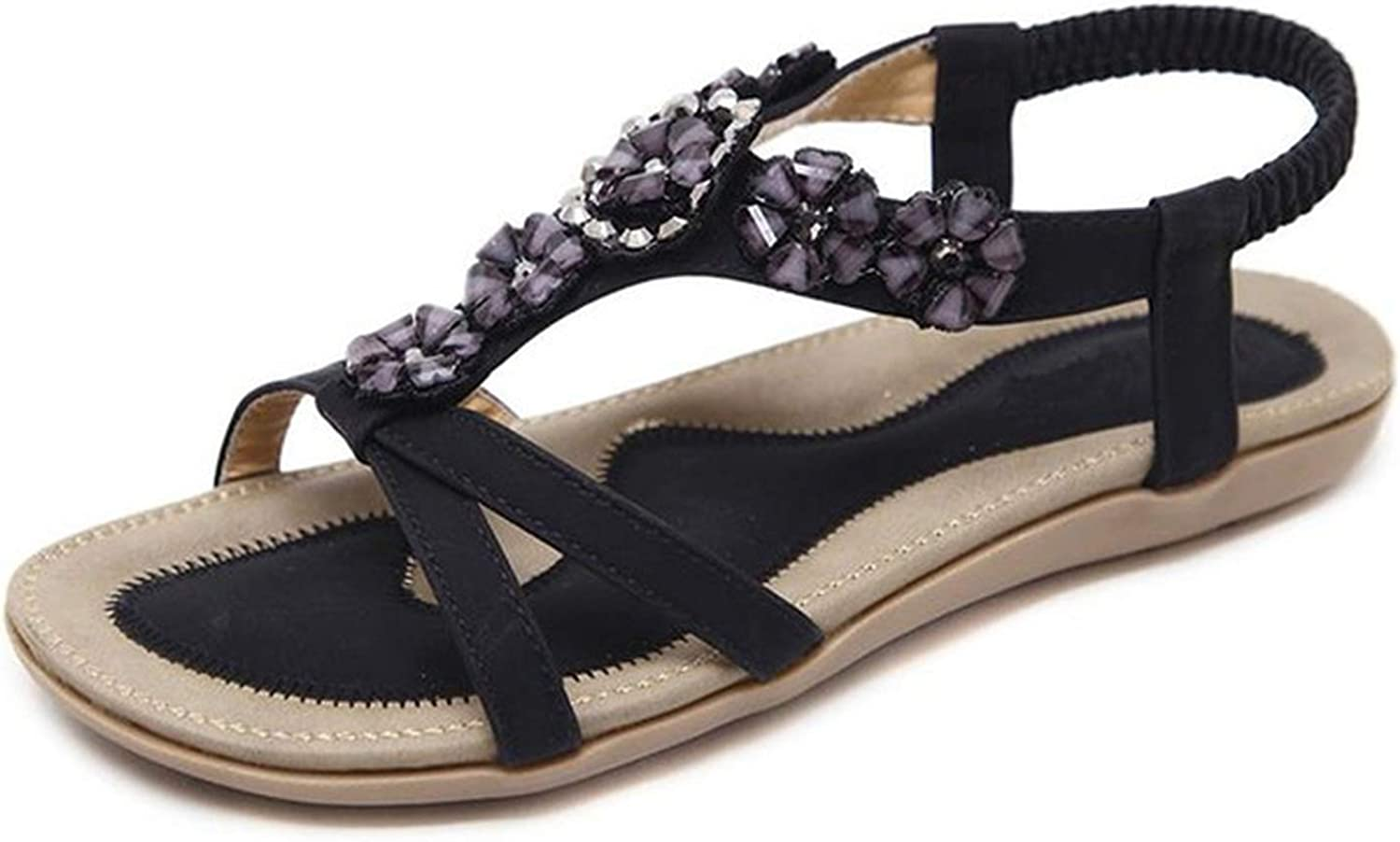 Luuvy-shop sandal Bohemian Summer shoes Sweet Womens Flowers Flat Sandals Rhinestones Casual Flats