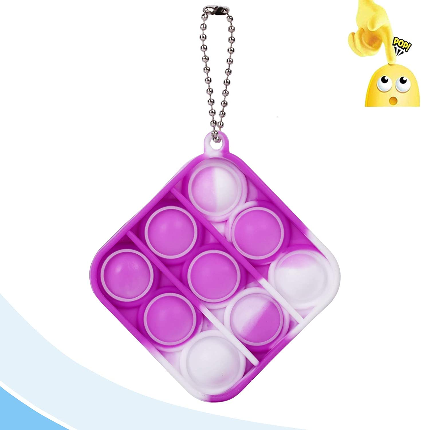 Style 6 Adult and Child Gift Keychain Toy Push Sensory Toy That relieves Stress Jesokiibo 1Pcs Mini Pop Pop Fidget Toy Anti-Anxiety Silicone Squeeze Toy