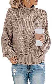 Byinns Womens Turtleneck Sweater Knitted Pullover Batwing Long Sleeve Loose Oversized Jumper Top Casual