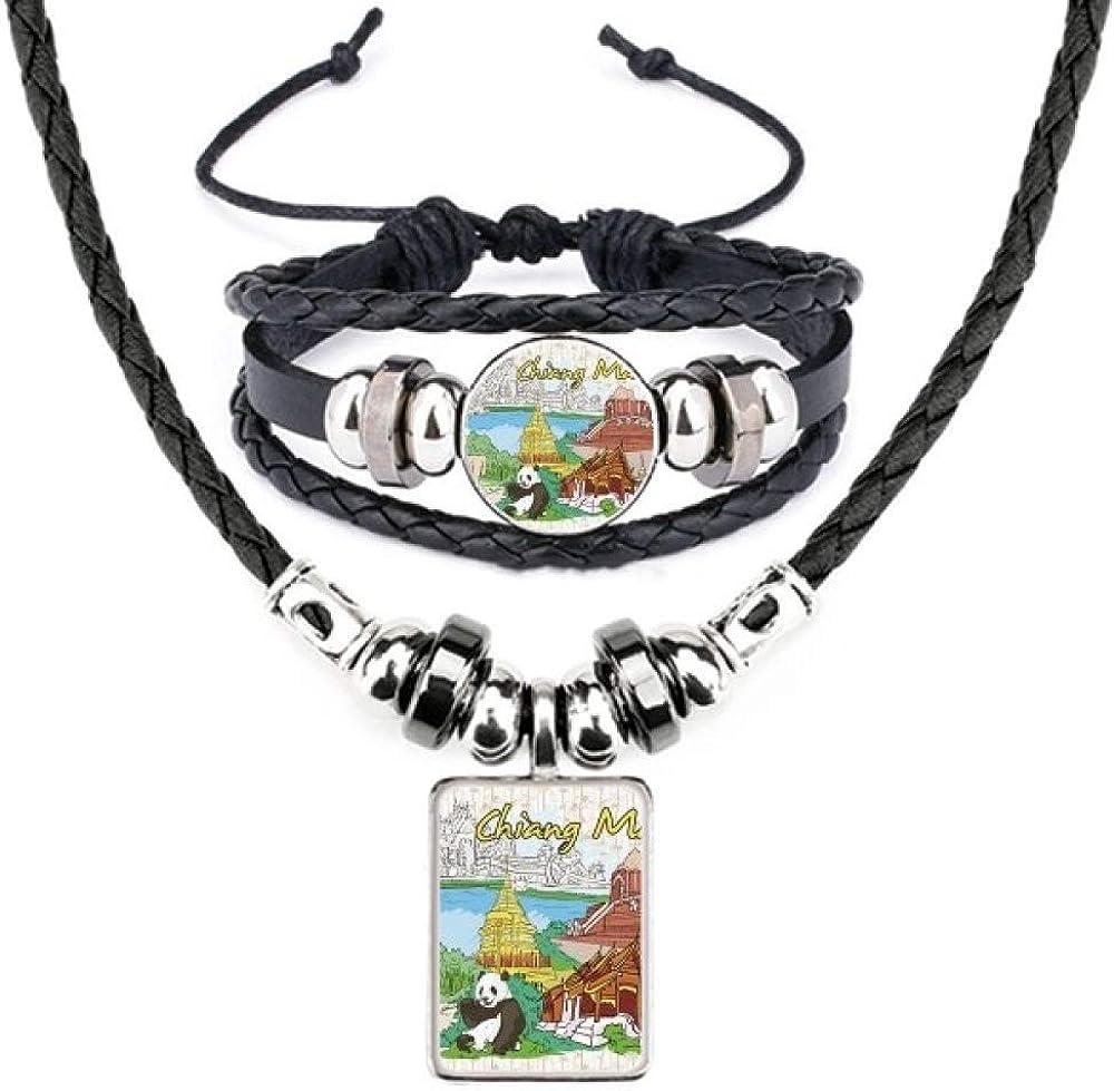 Thailand Chiang Mai Panda Temple Leather Necklace Bracelet Jewelry Set