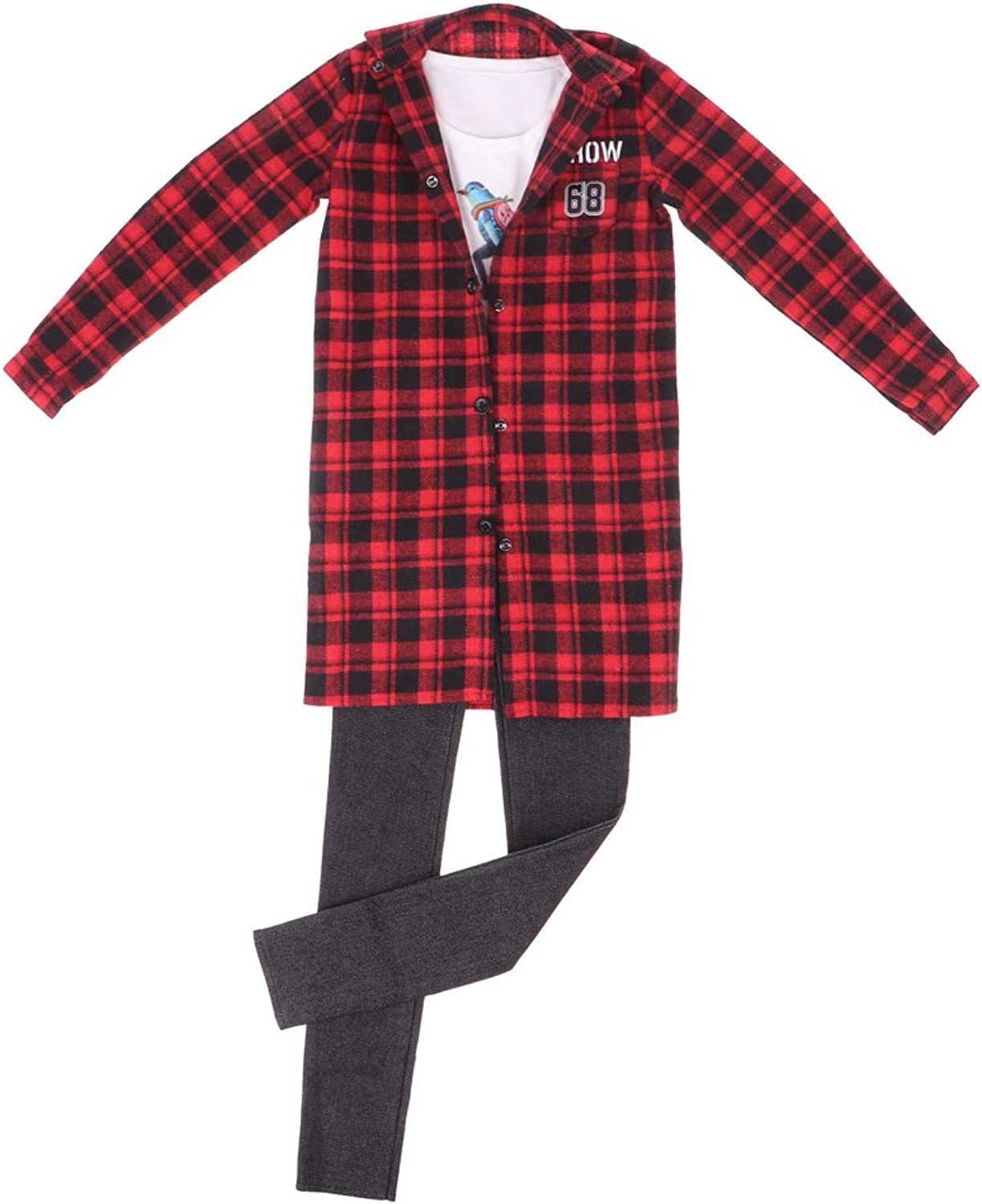 Homyl Fashion Red-Checked Long Coat Tee Jeans Clothes for 1 3 BJD Normal 70cm Uncle Doll
