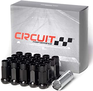 Circuit Performance Forged Steel Extended Open End Hex Lug Nut for Aftermarket Wheels: 12x1.25 Black - 20 Piece Set + Tool