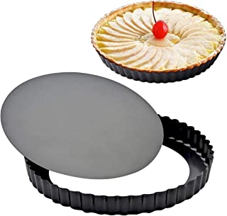 2 Pack Attmu 9 Inches Non-Stick Removable Loose Bottom Quiche Tart Pan, Tart Pie Pan, Round Tart Quiche Pan with Removable...