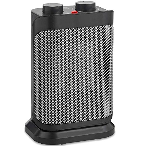 VonHaus 1500W Oscillating Ceramic Space Heater with Adjustable Thermostat, 2 Heat Settings, Fan Setting and Overheat Protection - Portable and Freestanding in Black