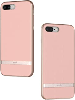 Moshi Vesta for iPhone 8 Plus / 7 Plus - Protective Fabric Case, Military-Grade Drop Tested, Resists Dirt and Scratches,Wireless Charging (Blossom Pink)