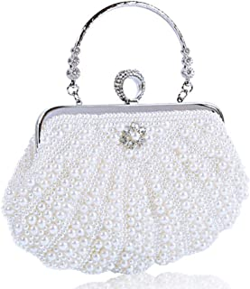 LVfenghe Ladies Dinner/Evening Clutch Bag Pearl Dress Bag Wedding Tote Bag Diagonal Female Shell Party Package Size: 24 * 25 cm (Color : White)