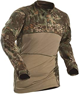 AKARMY Men's Tactical Military Combat Shirt, Long Sleeve Camo T Shirt with Zipper Pockets